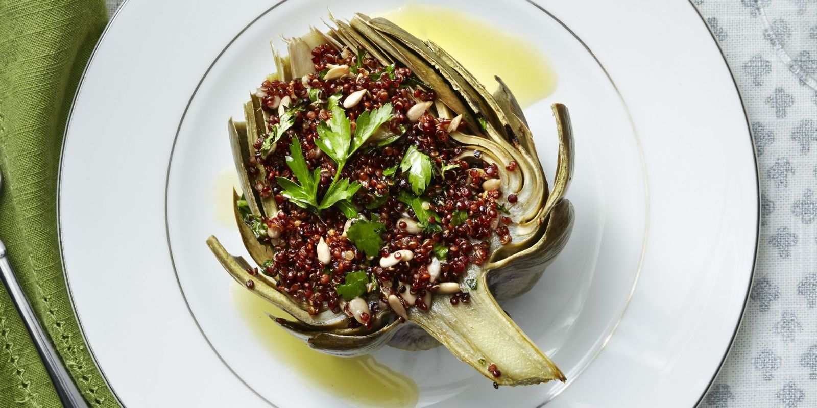 Red Quinoa Stuffed Artichokes